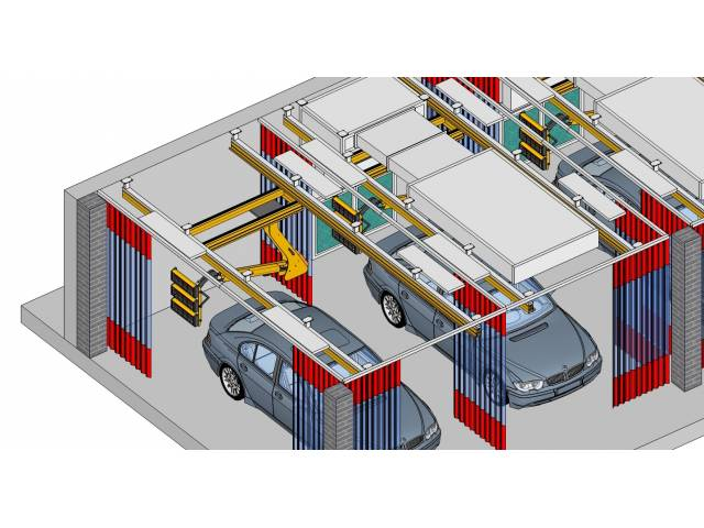 Estaciones de trabajo para lijado y retoque con reciclado de aire, detalle.
